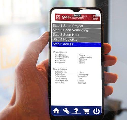 Handige App voor het vinden van pockethole-schroeflengtes